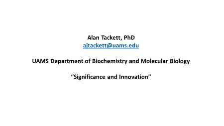 UAMS Department of Biochemistry and Molecular Biology