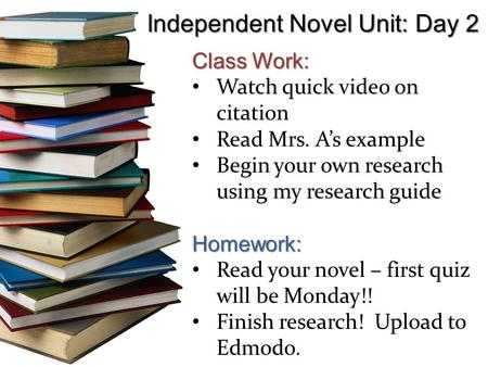 Independent Novel Unit: Day 2 Class Work: Watch quick video on citation Read Mrs. A's example Begin your own research using my research guideHomework: