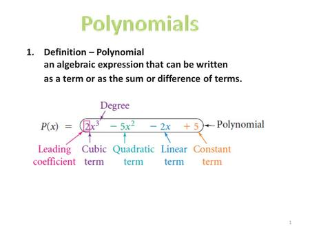 1 1.Definition – Polynomial an algebraic expression that can be written as a term or as the sum or difference of terms.