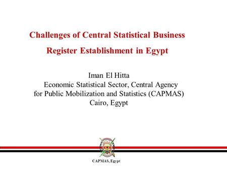 Iman El Hitta Economic Statistical Sector, Central Agency