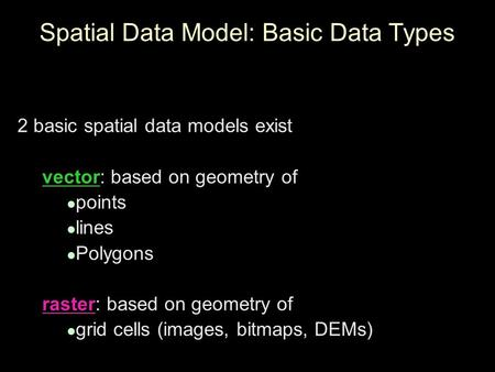 Spatial Data Model: Basic Data Types 2 basic spatial data models exist vector: based on geometry of points lines Polygons raster: based on geometry of.
