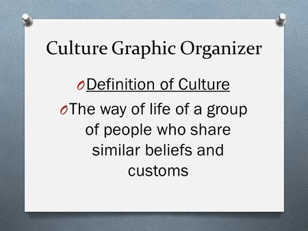Culture Graphic Organizer O Definition of Culture O The way of life of a group of people who share similar beliefs and customs.