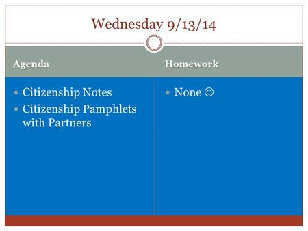 Agenda Homework Citizenship Notes Citizenship Pamphlets with Partners None Wednesday 9/13/14.