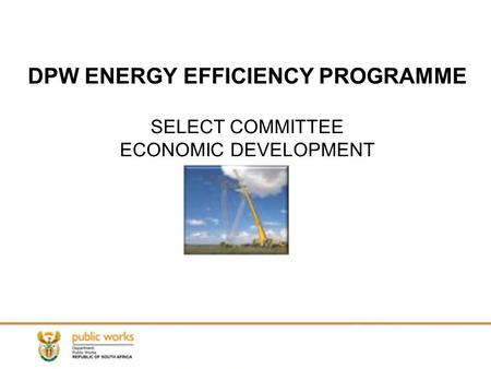 DPW ENERGY EFFICIENCY PROGRAMME SELECT COMMITTEE ECONOMIC DEVELOPMENT.