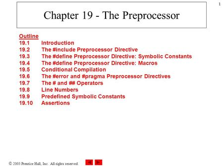  2003 Prentice Hall, Inc. All rights reserved. 1 Chapter 19 - The Preprocessor Outline 19.1 Introduction 19.2 The #include Preprocessor Directive 19.3.