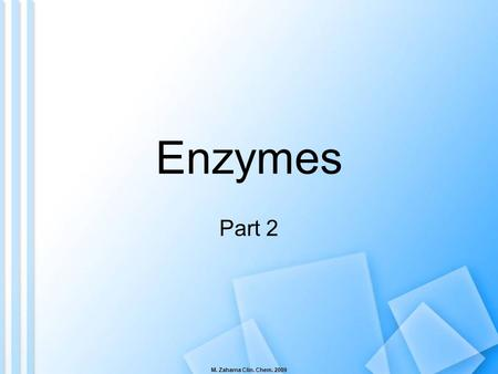 Enzymes Part 2 M. Zaharna Clin. Chem. 2009.
