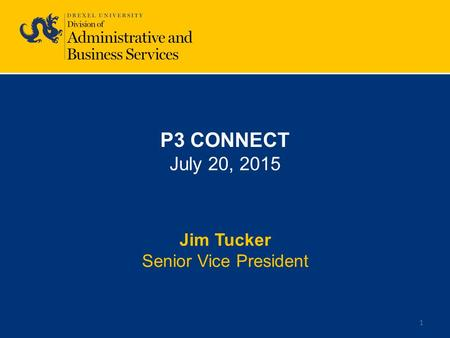 1 P3 CONNECT July 20, 2015 Jim Tucker Senior Vice President.