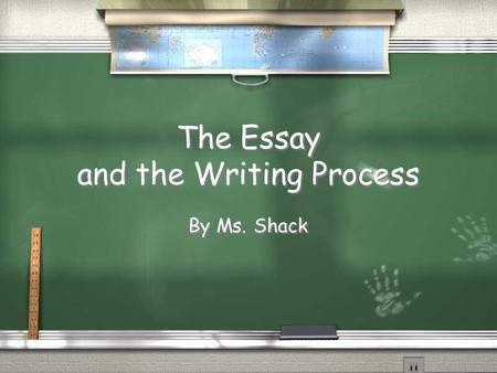 The Essay and the Writing Process By Ms. Shack Communicating Outside of School / You communicate on a daily basis by: / Writing letters, text messaging,