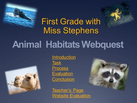 Animal Habitats Webquest First Grade with Miss Stephens Introduction Task Process Evaluation Conclusion Teacher's Page Website Evaluation.