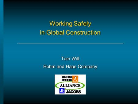 Working Safely in Global Construction