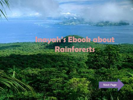 Inayah's Ebook about Rainforests Next Page. Contents Page Introduction : Page 3 Forest Floor : Page 4 Understory Layer : Page 5 Canopy Layer : Page 6.