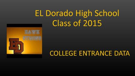 COLLEGE ENTRANCE DATA EL Dorado High School Class of 2015.