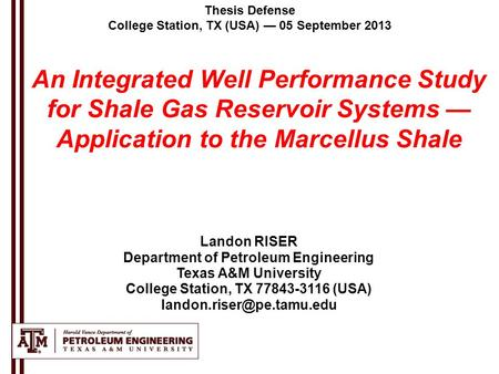 Texas a&m petroleum engineering thesis