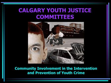 CALGARY YOUTH JUSTICE COMMITTEES Community Involvement in the Intervention and Prevention of Youth Crime.