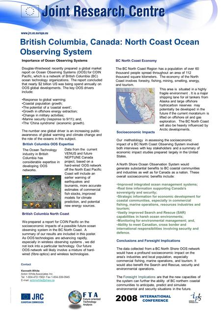 © European Communities, 2007 Importance of Ocean Observing Systems Douglas-Westwood recently prepared a global market report on Ocean Observing Systems.