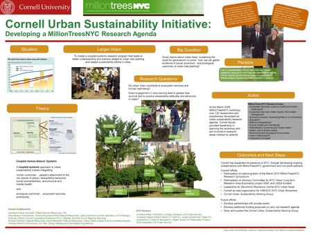 Cornell Urban Sustainability Initiative: Developing a MillionTreesNYC Research Agenda Situation Theory Paradox Action To create a coupled-systems research.