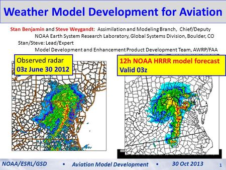 Weather Model Development for Aviation Stan Benjamin and Steve Weygandt: Assimilation and Modeling Branch, Chief/Deputy NOAA Earth System Research Laboratory,