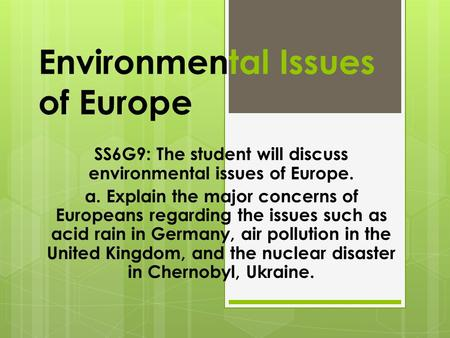 Environmental Issues of Europe