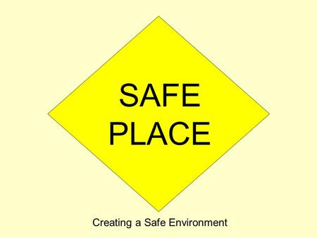 SAFE PLACE Creating a Safe Environment. Statement of Purpose: To foster, for all people, healthy, loving relationships in the image of God To prevent.