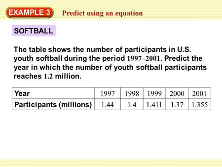 SOFTBALL EXAMPLE 3 Predict using an equation The table shows the number of participants in U.S. youth softball during the period 1997–2001. Predict the.