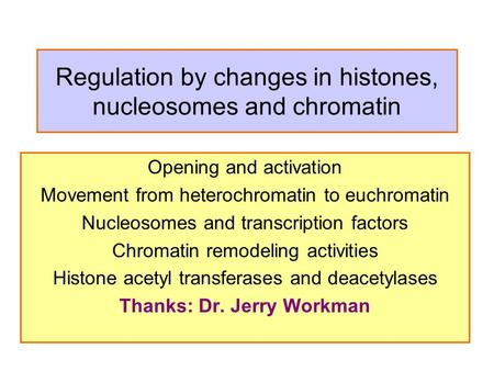 Regulation by changes in histones, nucleosomes and chromatin