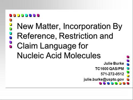 Julie Burke TC1600 QAS/PM 571-272-0512 julie.burke@uspto.gov New Matter, Incorporation By Reference, Restriction and Claim Language for Nucleic Acid Molecules.