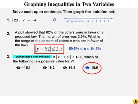 1. 2. 3. 16.2 Math Pacing Graphing Inequalities in Two Variables.