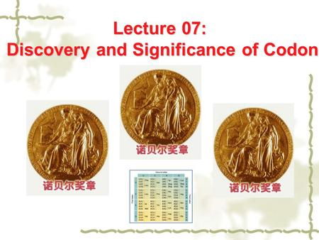Lecture 07: Discovery and Significance of Codon. 1. Discovery.