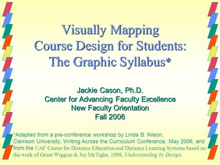 Visually Mapping Course Design for Students: The Graphic Syllabus * Jackie Cason, Ph.D. Center for Advancing Faculty Excellence New Faculty Orientation.