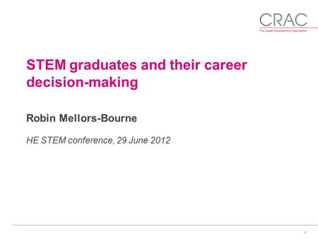 1 STEM graduates and their career decision-making Robin Mellors-Bourne HE STEM conference, 29 June 2012.