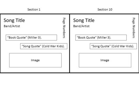 "Section 1Section 10 Song Title Band/Artist Page Numbers ""Book Quote"" (Miller 3). ""Song Quote"" (Cold War Kids). Image Song Title Band/Artist Page Numbers."