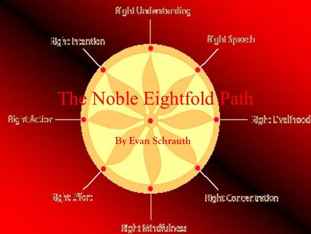 The Noble Eightfold Path By Evan Schrauth. The First and Second Path Right Speech-kind words, truthful -Say truth even when hurtful Right Actions-no bad.