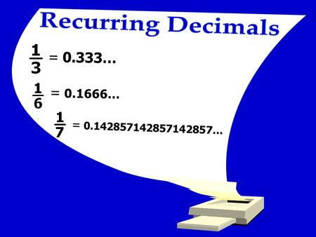 Recurring Decimals = 0.333… = … = …