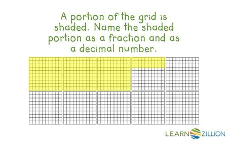A portion of the grid is shaded. Name the shaded portion as a fraction and as a decimal number.