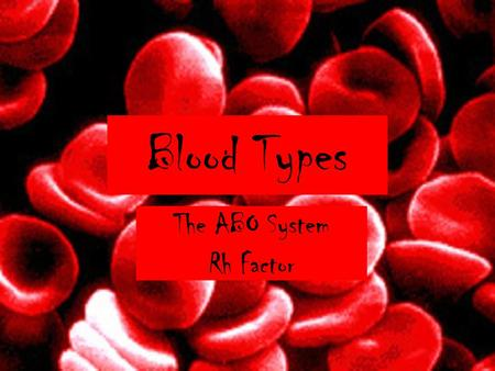 Blood Types The ABO System Rh Factor. Circulatory System Carries blood with oxygen and nutrients to all cells in the body (also called the cardiovascular.