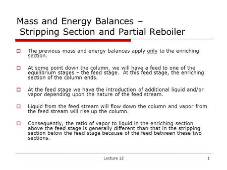 Mass and Energy Balances – Stripping Section and Partial Reboiler
