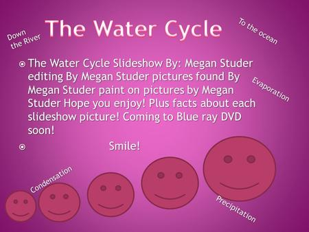  The Water Cycle Slideshow By: Megan Studer editing By Megan Studer pictures found By Megan Studer paint on pictures by Megan Studer Hope you enjoy!