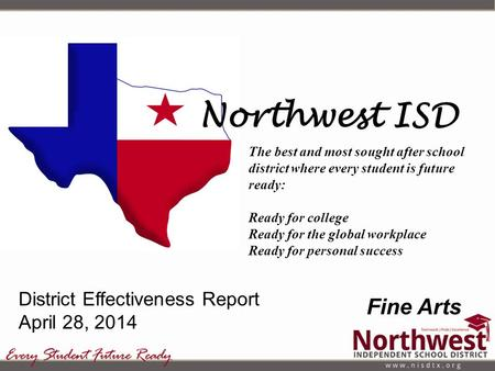 Northwest ISD The best and most sought after school district where every student is future ready: Ready for college Ready for the global workplace Ready.