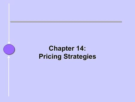 Chapter Chapter 14: Pricing Strategies. Price  Price: The sum of all the value(s) the consumer gives up to obtain the product or service. –Money –Time.