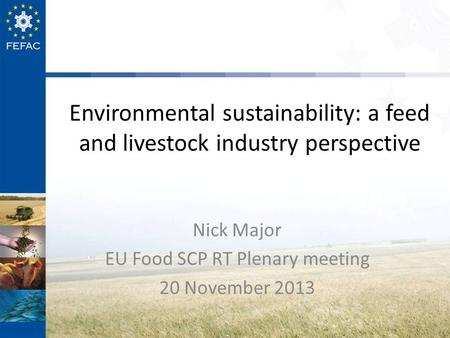 Environmental sustainability: a feed and livestock industry perspective Nick Major EU Food SCP RT Plenary meeting 20 November 2013.