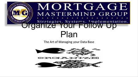 Organize Your Follow Up Plan The Art of Managing your Data Base.