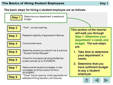 The Basics of Hiring Student Employees The basic steps for hiring a student employee are as follows: Step 1 Determine your department's needs and budget.