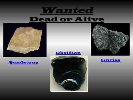 Wanted Dead or Alive Gneiss Sandstone Obsidian. Igneous Mineral composition – Obsidian rocks are very rich in silica. Color- Obsidian has a shiny black.