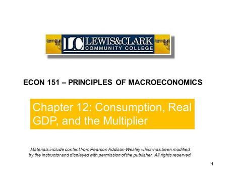 End of  Chapter 10 ECON 151 – PRINCIPLES OF MACROECONOMICS