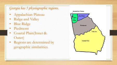 Georgia has 5 physiographic regions.