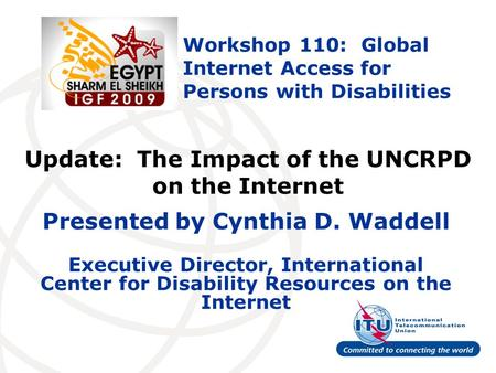Update: The Impact of the UNCRPD on the Internet Presented by Cynthia D. Waddell Executive Director, International Center for Disability Resources on the.