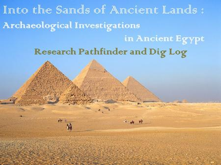 Into the Sands of Ancient Lands : Archaeological Investigations in Ancient Egypt Research Pathfinder and Dig Log.