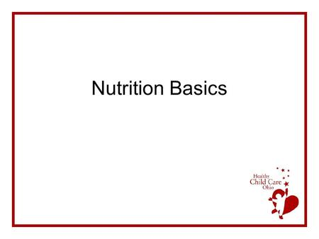 Nutrition Basics. Agenda Lecture Discussion & Group Activity Summary & Questions Evaluation.