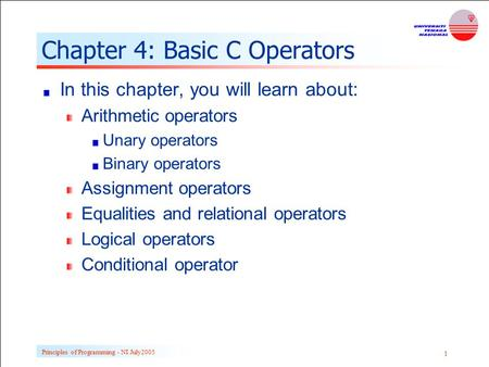 Chapter 4: Basic C Operators