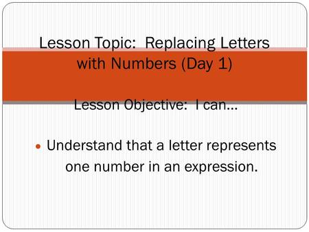 Lesson Topic: Replacing Letters with Numbers (Day 1)